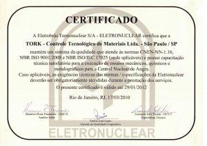 Certificado Eletronuclear Tork